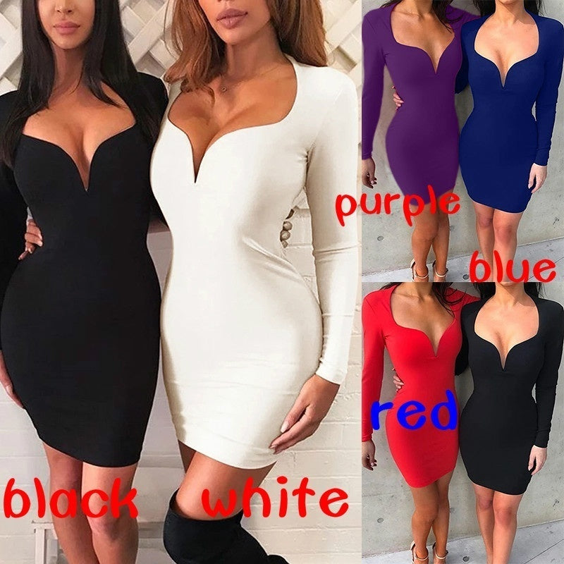 Women Fashion Deep V-neck Long Sleeve Solid Color Hip Dress Slim Fit Dress Plus Size