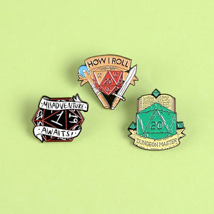 D20 Tabletop Rpg Dice Enamel Pin Dungeons and Dragons Badge Game Geek Gifts