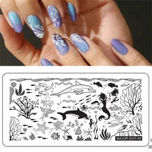 Load image into Gallery viewer, 1pc Nail Stamping Plates Flame Geometry Underwater World Series Nail Template Stamp Image Manicure Stamp Plate DIY Nail Designs