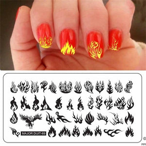1pc Nail Stamping Plates Flame Geometry Underwater World Series Nail Template Stamp Image Manicure Stamp Plate DIY Nail Designs