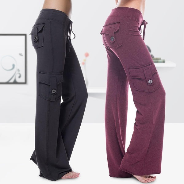 Fashion Women Multi-pocket Sports Pants with Pockets Elastic Drawstring Button Casual Pants