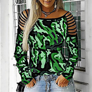 Women's Casual Long Sleeve Hollow-out Round Neck T-Shirt Camouflage Printed Blouse Tops Plus Size XS-5XL