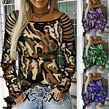 Load image into Gallery viewer, Women's Casual Long Sleeve Hollow-out Round Neck T-Shirt Camouflage Printed Blouse Tops Plus Size XS-5XL