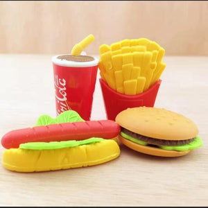 5Pcs/Lot Cola Hamburg Hotdog Chips Food Eraser Rubber Stationery Sandwich Shaped Creative Cute School Supplies For Kids