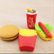 Load image into Gallery viewer, 5Pcs/Lot Cola Hamburg Hotdog Chips Food Eraser Rubber Stationery Sandwich Shaped Creative Cute School Supplies For Kids