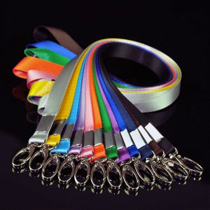 Multi-Color Nylon Solid Lanyard Neck Strap Keychain for Badge ID Card Work Permit Holder New