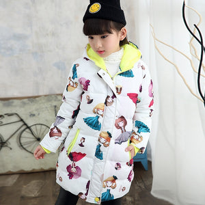 Girls Winter Coat Floral Print Down Coat Children Kids Cotton Padded Jacket Kids Outerwear Jackets