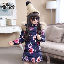 Load image into Gallery viewer, Girls Winter Coat Floral Print Down Coat Children Kids Cotton Padded Jacket Kids Outerwear Jackets
