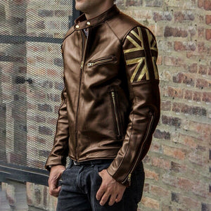 High Quality Fashion Men Union Flag Printed Leather Jackets Street Style Man Steampunk Motorcycle Faux Leather Jakcets Zipper Coat Plus Size