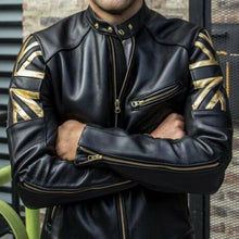 Load image into Gallery viewer, High Quality Fashion Men Union Flag Printed Leather Jackets Street Style Man Steampunk Motorcycle Faux Leather Jakcets Zipper Coat Plus Size