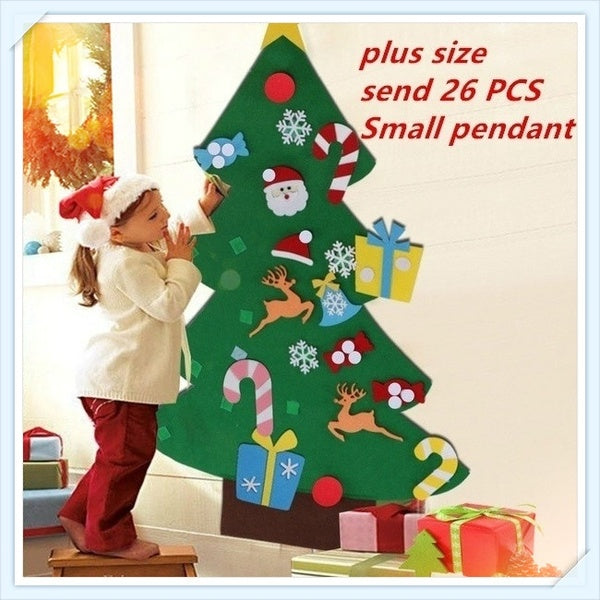 Puzzle Toys Kids Gifts Stick Door Wall Hanging Xmas Decor Felt Christmas Tree Ornaments Send 26Pcs Small Pendant