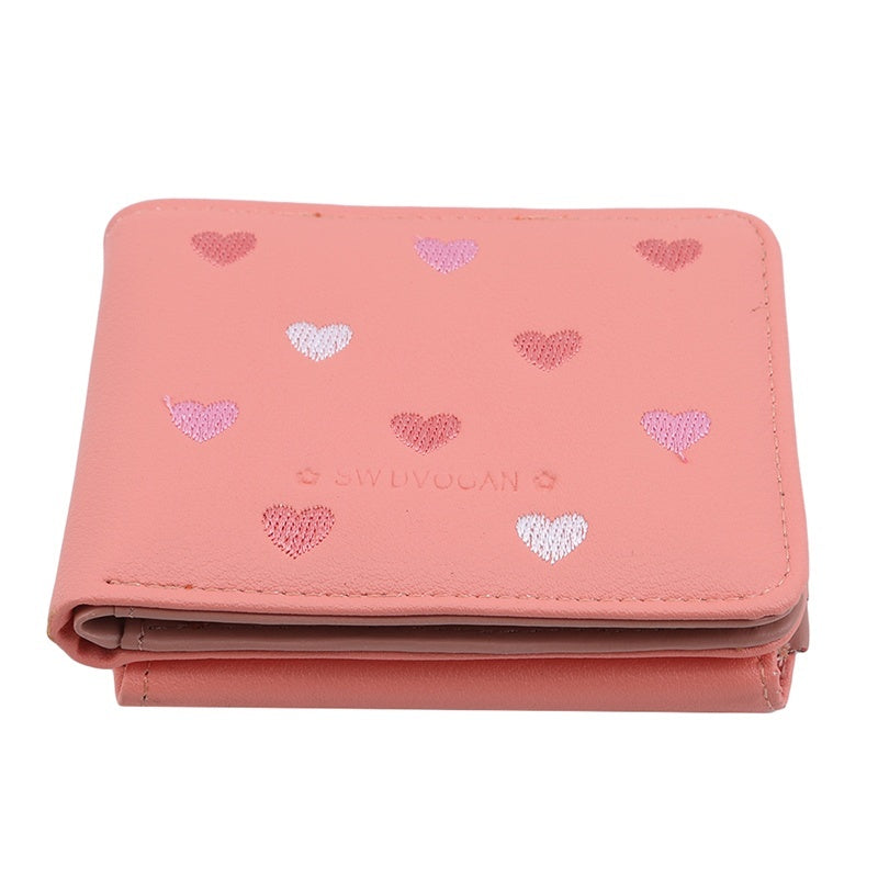 Travel Wallets New Ladies Short Wallet Fashion Multicolor Small Fresh Love Wallet Bifold Purse Leisure Wallet