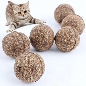 1/2/3/4/5/6/7/8pcs Cat Mint Ball Natural Catnip Teeth Cleaning Playing Chew Toys Pet Supplies