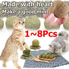 Load image into Gallery viewer, 1/2/3/4/5/6/7/8pcs Cat Mint Ball Natural Catnip Teeth Cleaning Playing Chew Toys Pet Supplies