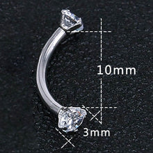 Load image into Gallery viewer, 2Pcs Diamond Eyebrow Piercing Ring Surgical Stainless Steel Belly Ring White Ear Piercing Pircing Body Jewelry