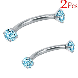 2Pcs Diamond Eyebrow Piercing Ring Surgical Stainless Steel Belly Ring White Ear Piercing Pircing Body Jewelry