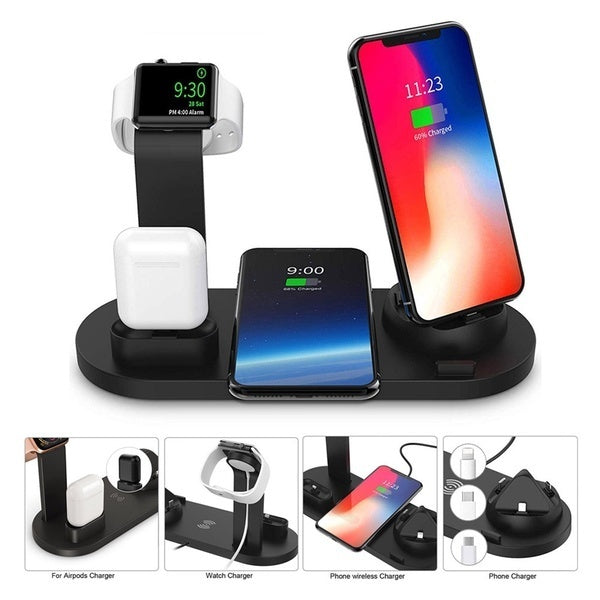 Qi Wireless Charger Phone Charging Stand with Usb Fast Charging for Iphone X XS XR 8P 8 Samsung S10 S9 S8 S7 Charging Dock Station for Airpods Apple Watch 4/3/2/1