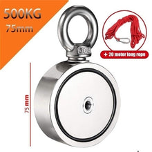 Load image into Gallery viewer, 200/300/500KG Double Side Neodymium Metal Magnet Detector Fishing Kit+20M Rope NdFeB Magnets M8 Steel Plate 48/60/75mm Diameter