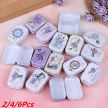Load image into Gallery viewer, 2/4/6Pcs Mini Lavender Tin Box Sealed Jar Packing Boxes Jewelry Candy Box Small Storage