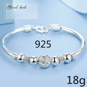 New 2019 Luxurious Design Women's 925 Sterling Silver Transfer Bead Bracelet Fashion Jewelry (Size: A, B, C)