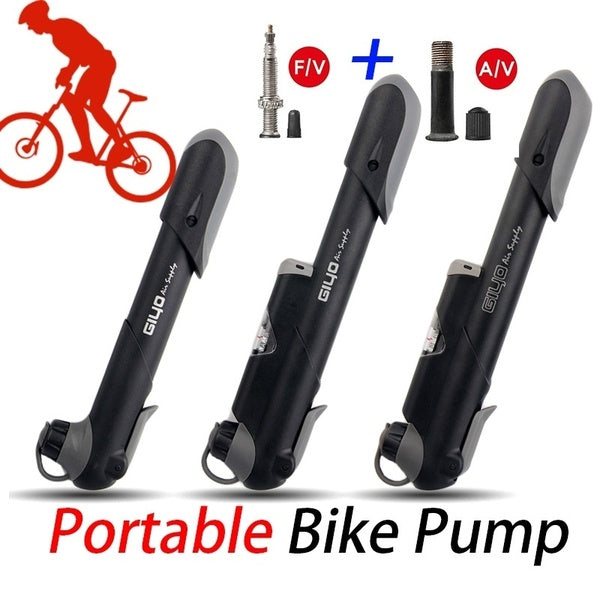 GIYO AV/FV Valve Bike Pump Adaptors MTB Road Bicycle Pump With Gauge Mini Cycling Pump Presta Schrader Tire Bicycle Air Inflator