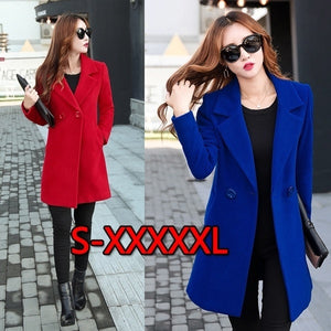 2020 New! Autumn And Winter New Ladies Large Size 5XL Cashmere Coat Long Suit Woolen Coat Wool Solid Color Coat Fashion Warm Long Blazer