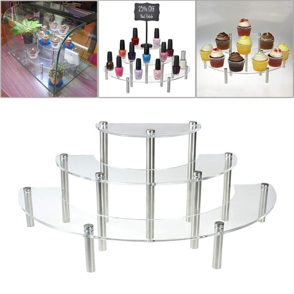 3 Layers Durable Acrylic Cake Display Stand Cupcakes Desserts Platter Shelf for Wedding Birthday Christmas Party Cosmetic Rack Window Display Stand