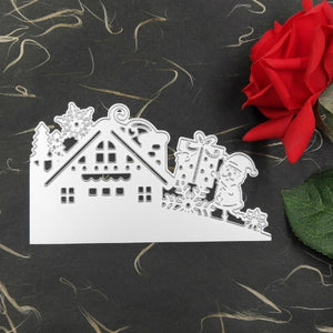 Christmas House Tree Snowman Santa Claus Cutting Die Embossing Stencil Mold for DIY Art Handcraft Card Decor