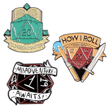 Load image into Gallery viewer, 20 Sided Dice D20 DnD Enamel Pins Game Brooch Shirt Bag Lapel Pin  Dragon and Dungeon Jewelry Gift for Fans Friends