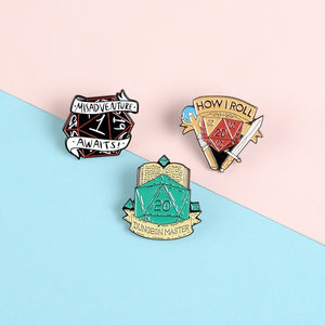 20 Sided Dice D20 DnD Enamel Pins Game Brooch Shirt Bag Lapel Pin  Dragon and Dungeon Jewelry Gift for Fans Friends