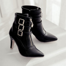 Load image into Gallery viewer, Fashion Rome Stylish Pointed Toe Women Short Boots Metal Buckle Zippers Ankle Boots Stilettos High Heels Women Booties Stiefel Botte Botas