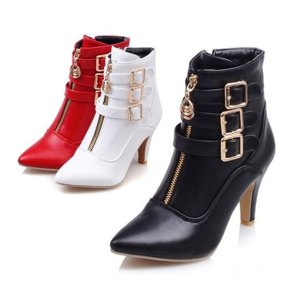 Fashion Rome Stylish Pointed Toe Women Short Boots Metal Buckle Zippers Ankle Boots Stilettos High Heels Women Booties Stiefel Botte Botas