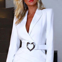 Load image into Gallery viewer, Fashion Women Suit Collar Long Sleeve Bodycon Dress