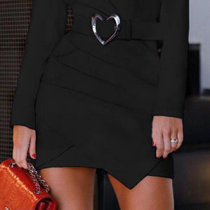 Fashion Women Suit Collar Long Sleeve Bodycon Dress