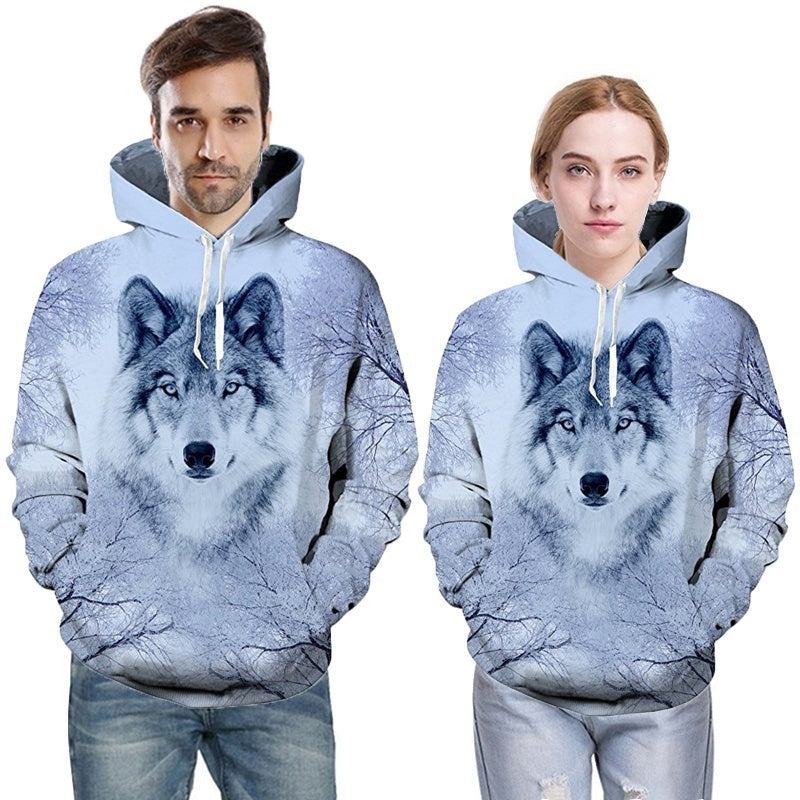 Novelty 3D Wolf Couple Hoodies Funny Digital Printing Sweatshirts with Big Pockets