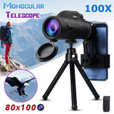 New 80x100 HD Zoom Monocular Waterproof Telescope Portable  for Outdoor Camping Traveling Concert Tripod Optional