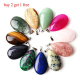1PC Natural Tigereyestone Lapis Lazuli Crystal Waterdrop Shaped Pendant Polished Stone Reiki Healing Gift