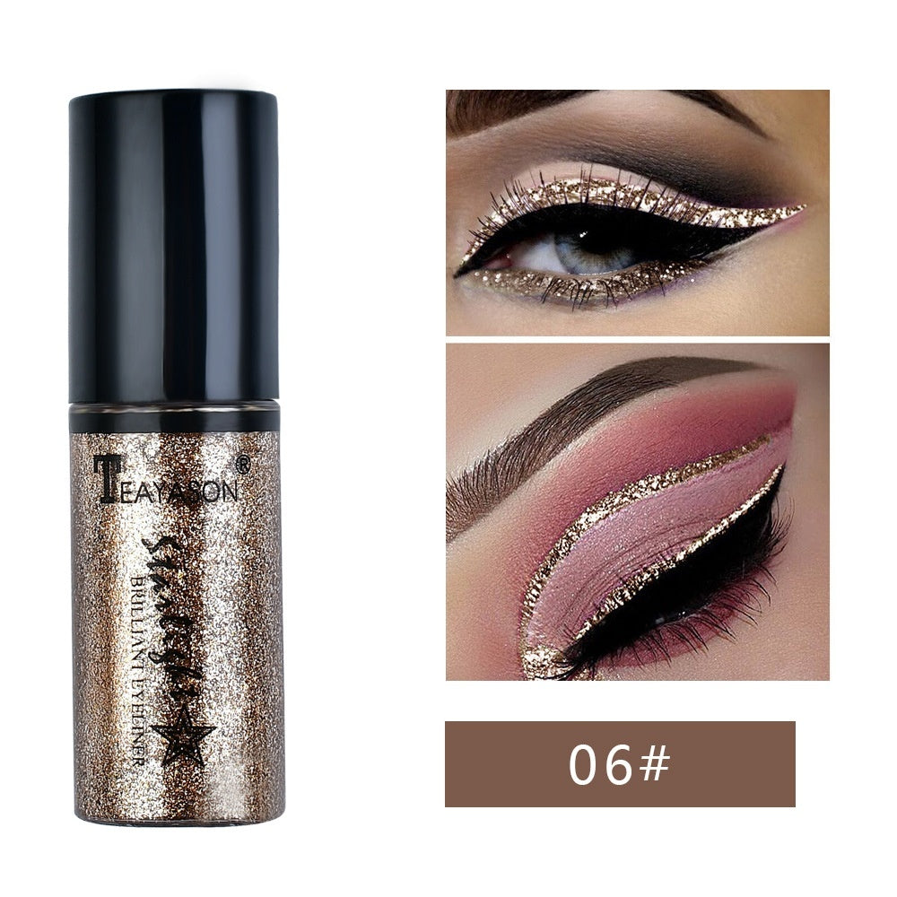 6Pcs/box Fashion Long Lasting Diamond Pearlescent Cosmetics Waterproof Shimmer Eyeshadow Glitter Liquid Eyeliner Eye Pigment