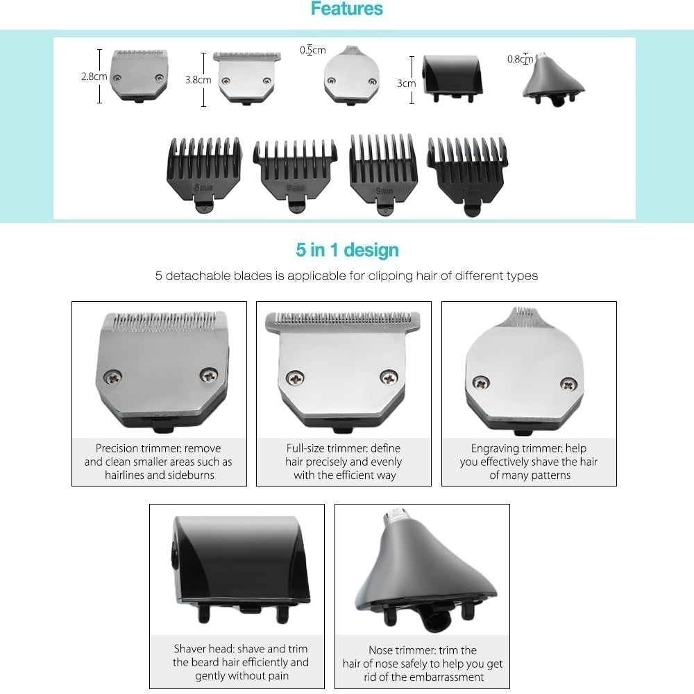 Kemei KM 5 in 1 Nose Beard Ear Hair Trimmer Clipper Shaver Haircut Kit, Vacuum Trimmer, Hair Clippers, Clippers Without Oil