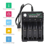 3.7 V 18650 Charger Lithium Ion Battery USB Independent Charging Portable 18350 16340 14500 Battery Charger