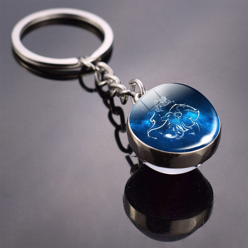New Fashion Women Men Horoscope Jewelry 12 Constellations Double Side Glass Ball Pendant Keychain for Friends Birthday Gifts