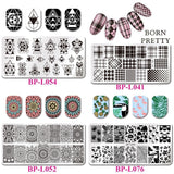 BORN PRETTY 12*6cm Rectangle Nail Stamping Template Flowers Geometry Cartoon  Art Image Plate