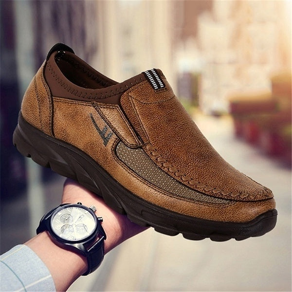 Old Beijing Shoes Men's Loafers Handmade Leather Stitching Non-slip Casual Business Shoes Large Size US6.5-US12