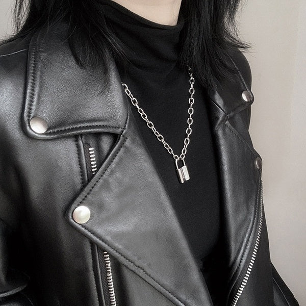 Rock Choker Long Chain Lock Necklace Punk Link Chain Padlock Pendant Necklace Hiphop Women Men Fashion Gothic Jewelry