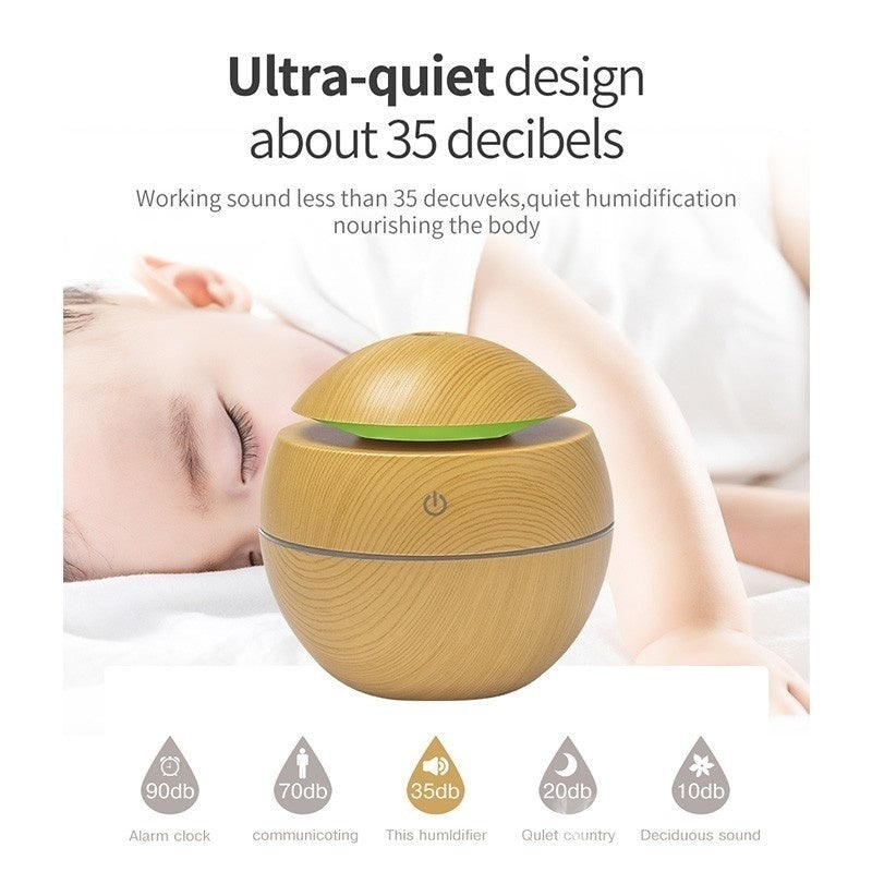 2Type 130ml USB Wood Grain Air Humidifier LED Light Essential Oil Aroma Diffuser 6 Colors Changeable