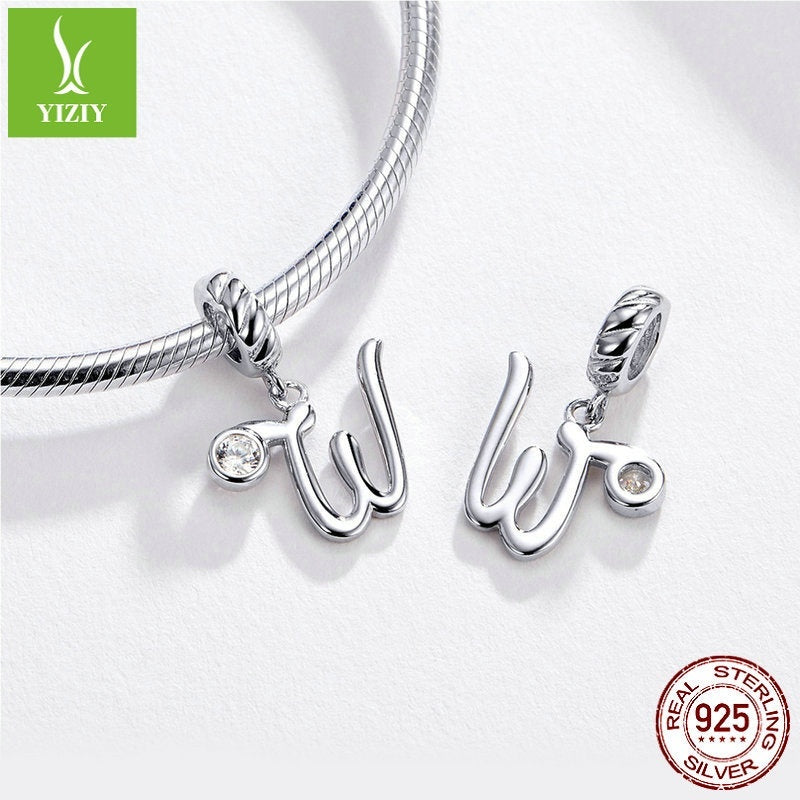 YIZIY Original Authentic 925 Sterling Silver Letter Charms Accessories A To Z Alphabet Beads Fit Personality Bracelet & Necklace Jewelry Making