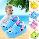 Summer Toddler Kid Girls Boys Sandals Croc Caterpillar Beach Sandals Slippers Flip Shoes Cute Cartoon Non-slip Children's Cool Slippers