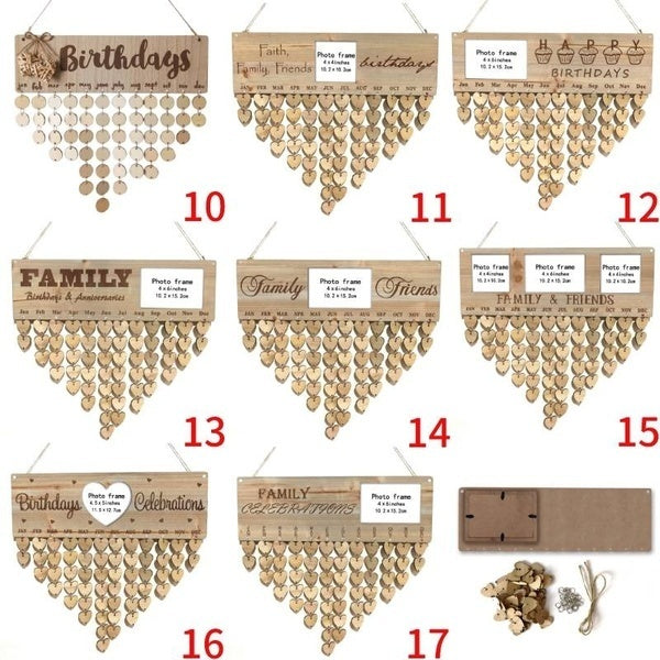 Wooden Birthday Reminder Board Family Date Planner Sign Hanging Calendar