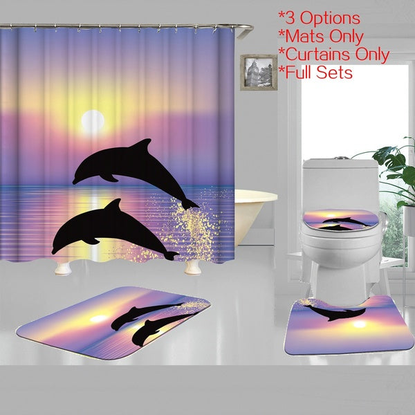 Dolphin Ocean Mildew-proof Polyester Shower Curtains Toilet Lid Cover Non-Slip Bath Mat Rug Bathroom Suit