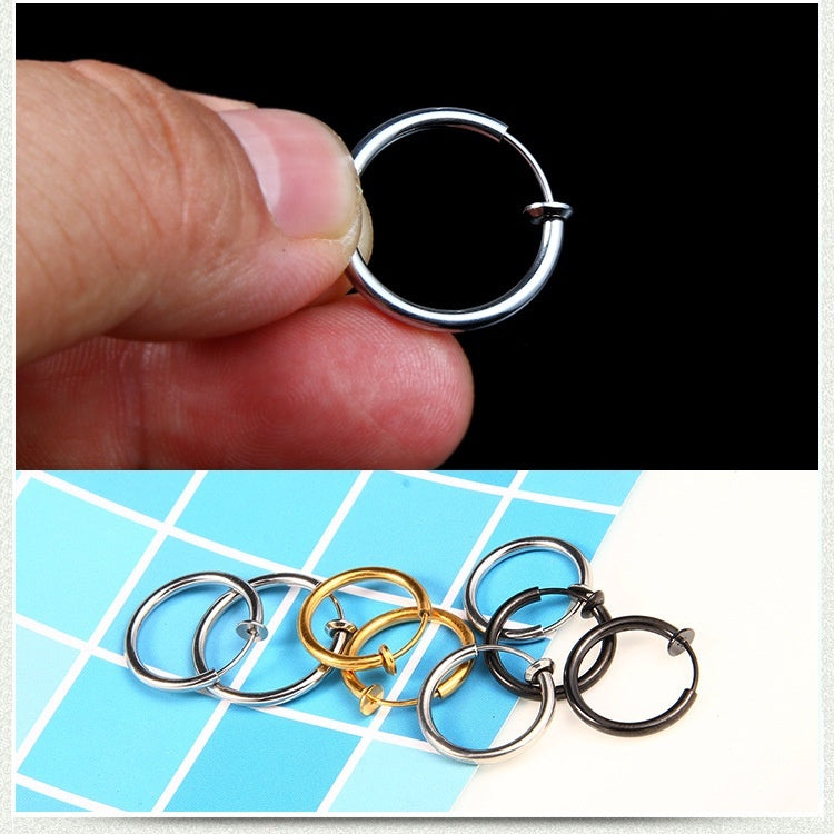Stainless Titanium Steel Clip on Earrings No Hole Anti-allergic Tide Round Non Pierced Earring Clips Jewelry Accessories